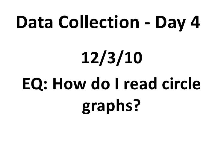 Data Collection - Day 4<br />12/3/10<br />EQ: How do I read circle graphs?<br />