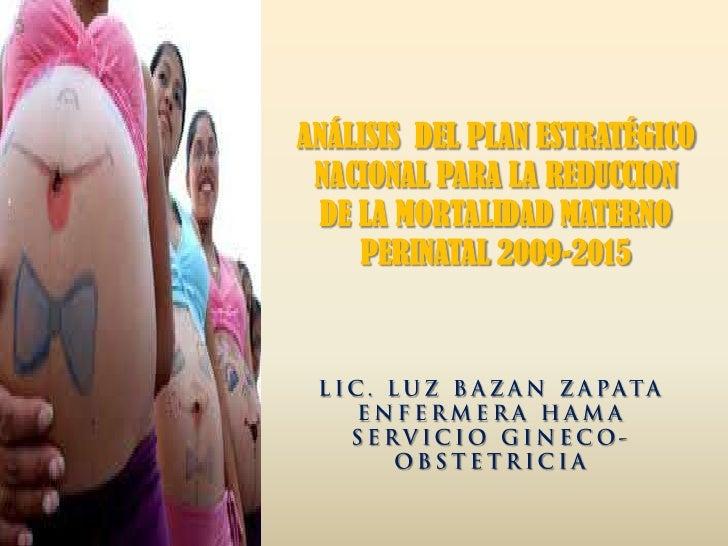 Analisis plan estrategico nacional reduccion mortalidad materno perinatal - CICAT-SALUD