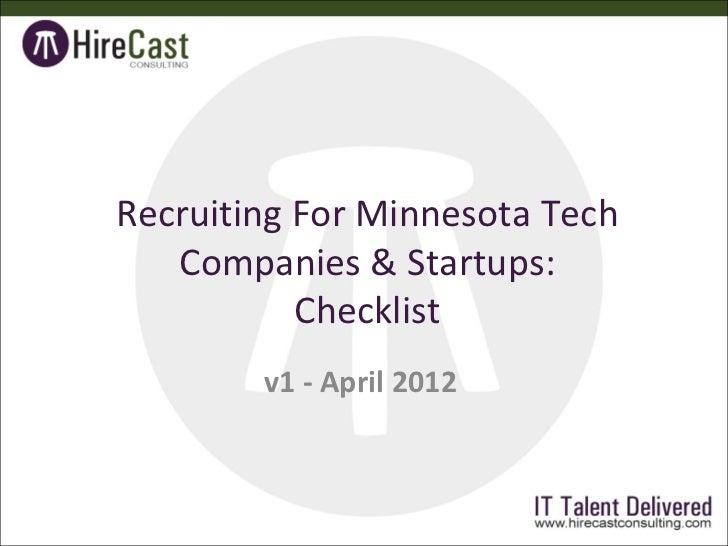 Recruiting For Minnesota Tech Companies & Startups-Checklist