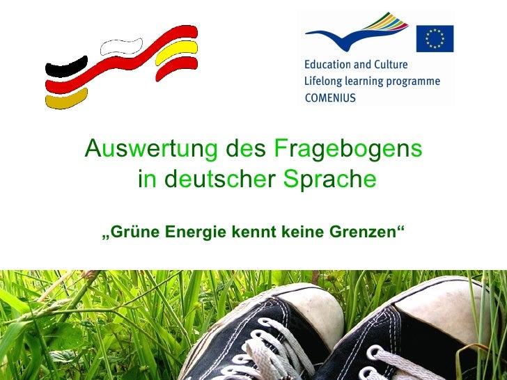 """Auswertung des Fragebogens     in deutscher Sprache  """"Grüne Energie kennt keine Grenzen"""""""