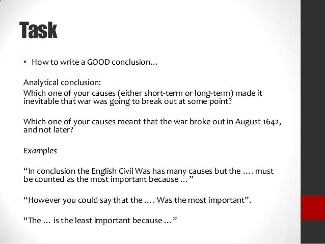 cause and effect of english civil war essay To demonstrate a cause and its effect is never that easy in written form check out our cause and effect essay samples to understand how to write an essay of this.