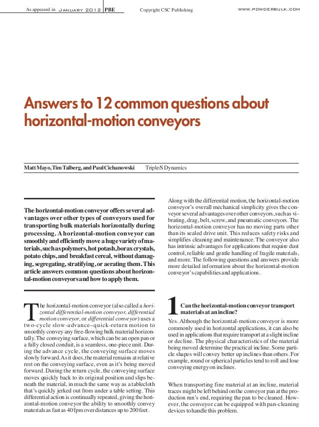 As appeared in January 2012 PBE  Copyright CSC Publishing  www.powderbulk.com  Answers to 12 common questions about horizo...