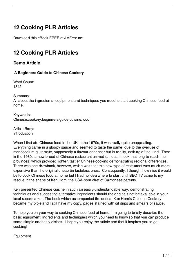 12 Cooking PLR ArticlesDownload this eBook FREE at JMFree.net12 Cooking PLR ArticlesDemo ArticleA Beginners Guide to Chine...