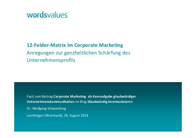 12-Felder-Matrix im Corporate Marketing  Anregungen zur ganzheitlichen Schärfung des  Unternehmensprofils  Fazit zum Beitr...