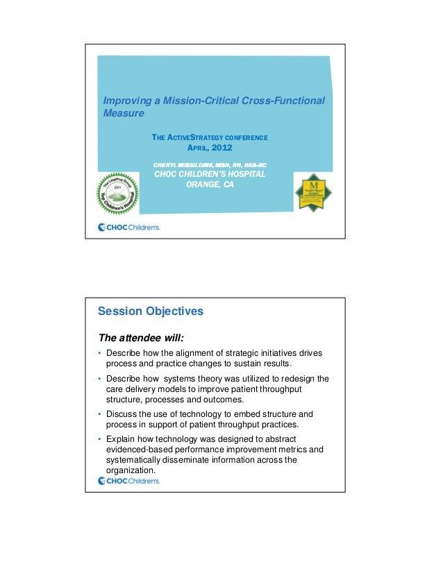 Improving a Mission-Critical Cross-FunctionalMeasureTHE ACTIVESTRATEGY CONFERENCEAPRIL, 2012CHERYLCHERYLCHERYLCHERYL MISSI...