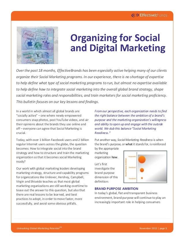 Organizing for Social and Digital Marketing