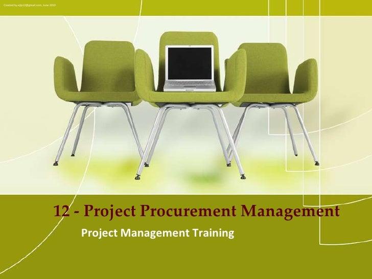 PMP Training - 12 project procurement management