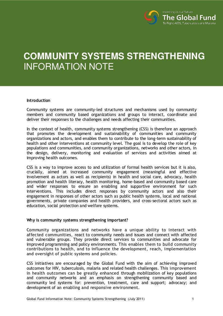 COMMUNITY SYSTEMS STRENGTHENINGINFORMATION NOTEIntroductionCommunity systems are community-led structures and mechanisms u...