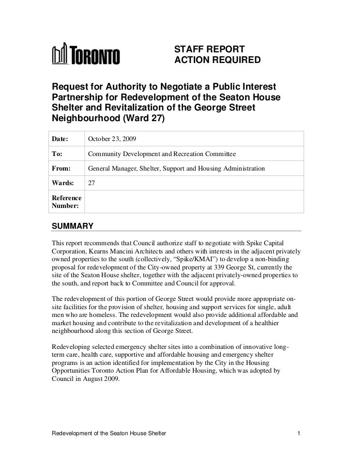 STAFF REPORT                                             ACTION REQUIREDRequest for Authority to Negotiate a Public Intere...