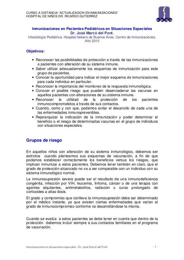 """CURSO A DISTANCIA """"ACTUALIZACION EN INMUNIZACIONES"""" HOSPITAL DE NIÑOS DR. RICARDO GUTIERREZ  Inmunizaciones en Pacientes P..."""