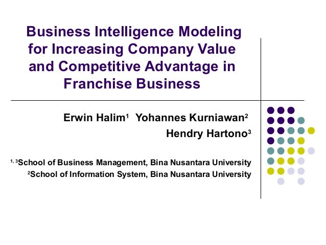 120. business intelligence modeling for increasing company value and competitive advantage in franchise business