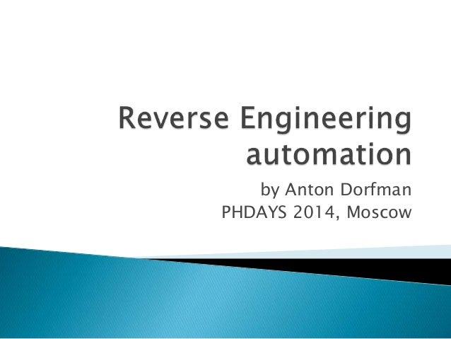 Reverse Engineering automation