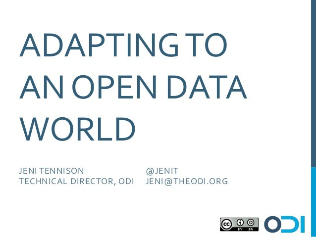 Eduserv Symposium 2013 - Adapting to an Open Data World