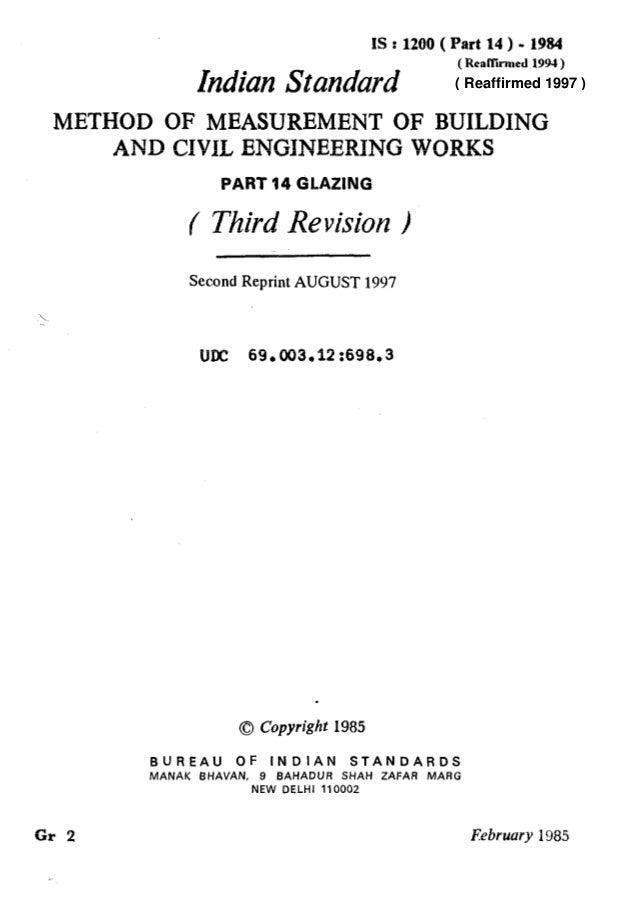 IS : 1200 ( Part 14 ) - 1984 hdiun Standard ( Rcallirmed 1994 ) METHOD OF MEASUREMENT OF BUILDING AND CIVIL ENGINEERING WO...