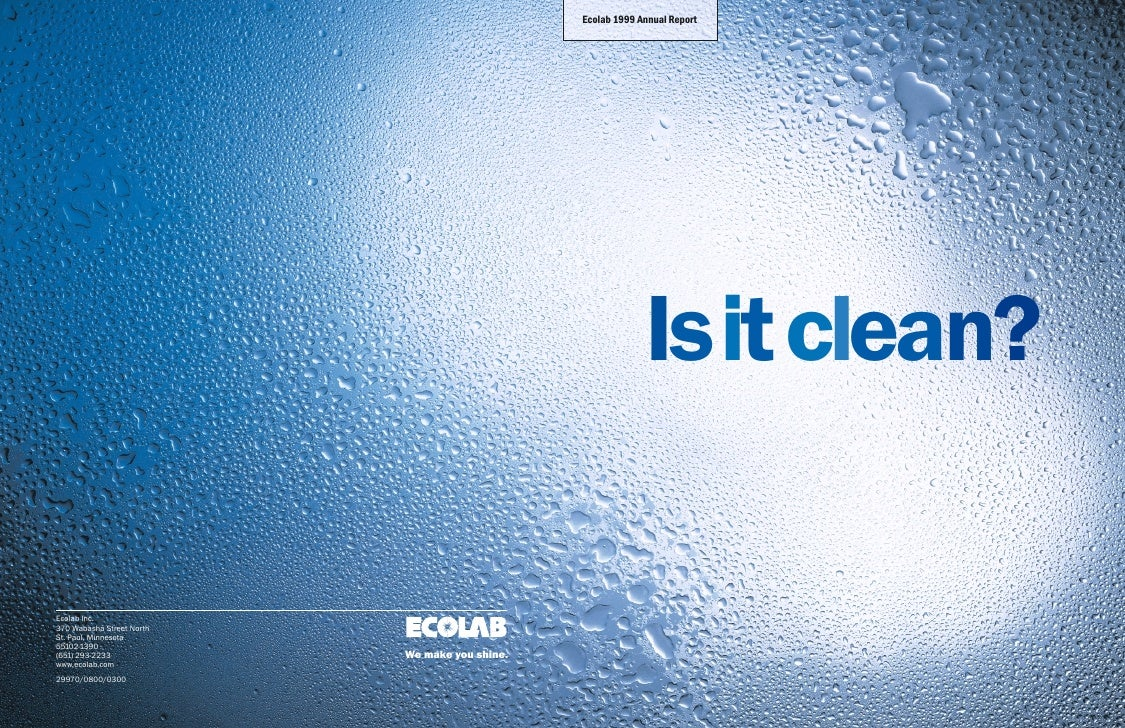 Ecolab 1999 Annual Report                                                                  Isit clean?  Ecolab Inc. 370 Wa...