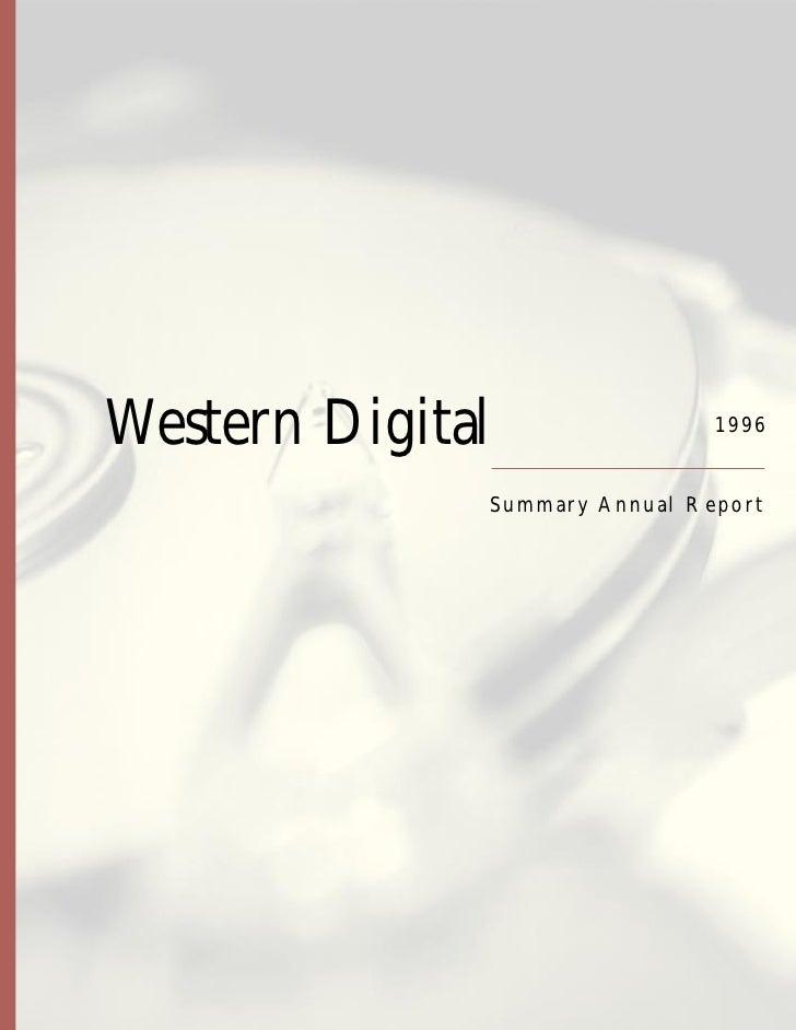 Western Digital                  1996                 Summar y Annual Repor t