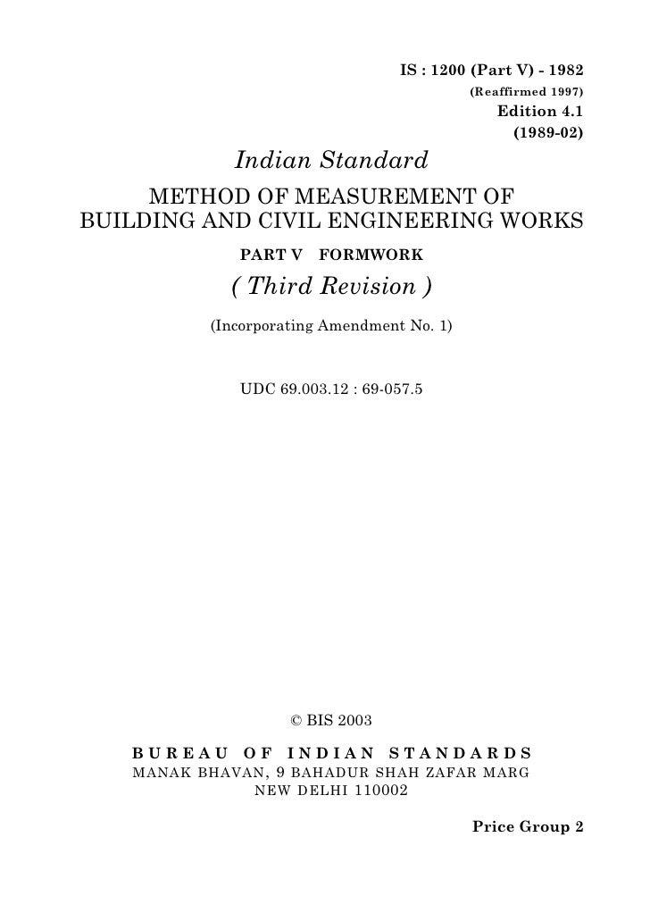 IS : 1200 (Part V) - 1982                                            (Reaffirmed 1997)                                    ...