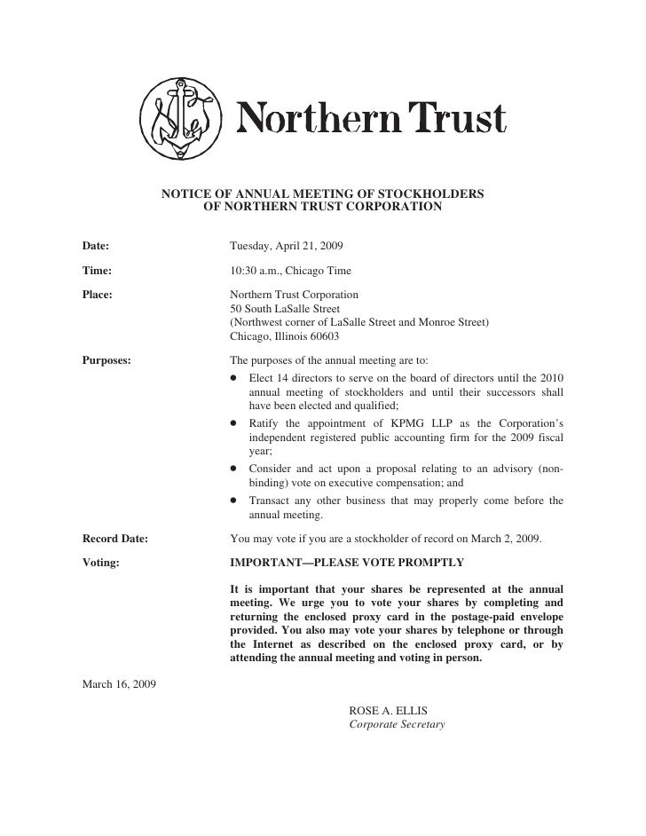 NOTICE OF ANNUAL MEETING OF STOCKHOLDERS                       OF NORTHERN TRUST CORPORATION   Date:                    Tu...