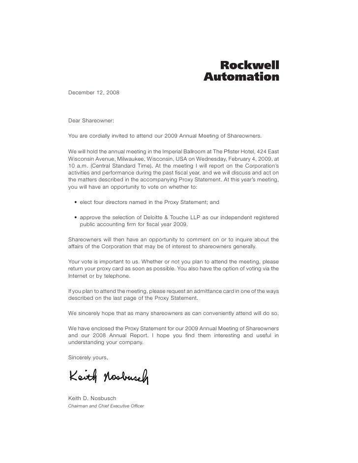 ROCKWELL AUTOMATION 2009Proxy