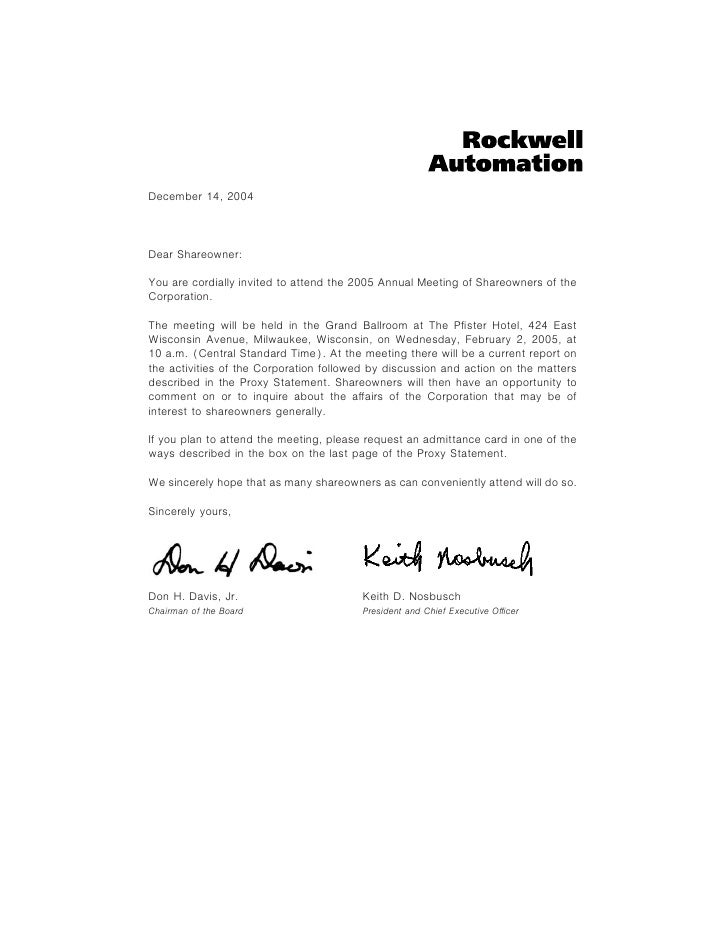 December 14, 2004    Dear Shareowner:  You are cordially invited to attend the 2005 Annual Meeting of Shareowners of the C...