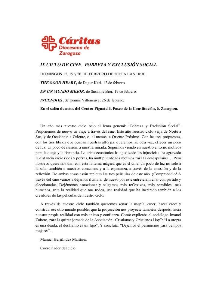 """IX Edición del  CICLO DE CINE  """"POBREZA Y EXCLUSIÓN SOCIAL"""""""