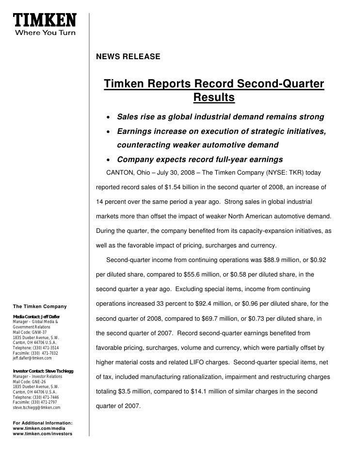 NEWS RELEASE                                        Timken Reports Record Second-Quarter                                  ...