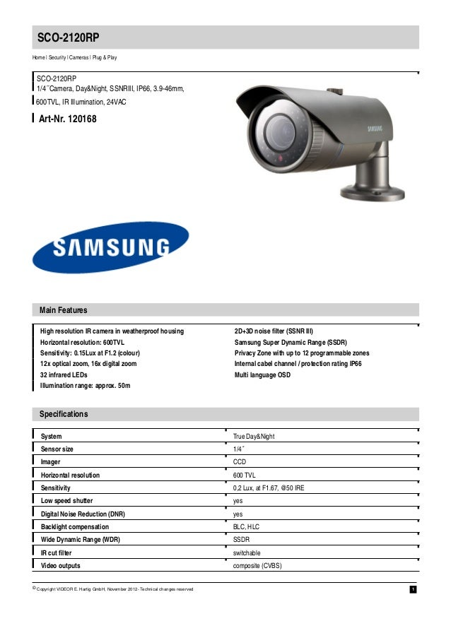 SCO-2120RPHome | Security | Cameras | Plug & Play  SCO-2120RP  1/4´´Camera, Day&Night, SSNRIII, IP66, 3.9-46mm, 600TVL, IR...