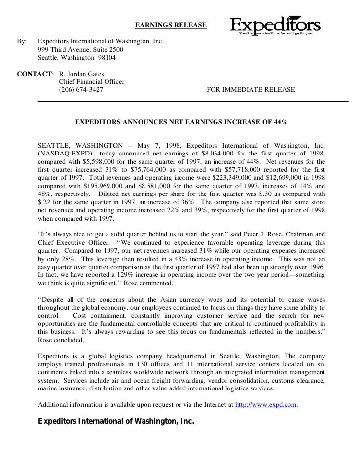 EARNINGS RELEASE  By:   Expeditors International of Washington, Inc.       999 Third Avenue, Suite 2500       Seattle, Was...