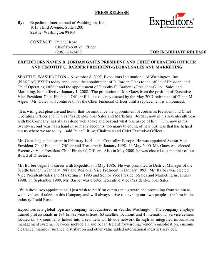 PRESS RELEASE  By:    Expeditors International of Washington, Inc.        1015 Third Avenue, Suite 1200        Seattle, Wa...