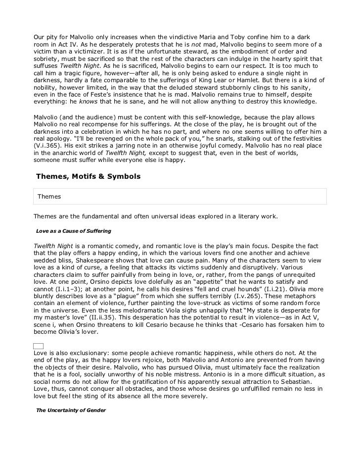 love and desire in twelfth night essay