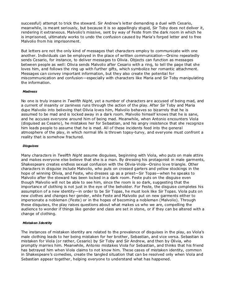 twelfth night character analysis essay In twelfth night we come across a plethora of complex characters that entertain us through out the romantic play yet there is one that stuck to me from beginning to end, malvolio although at the beginning malvolio seams to be a simple type character with his religious and proper ways, we see.