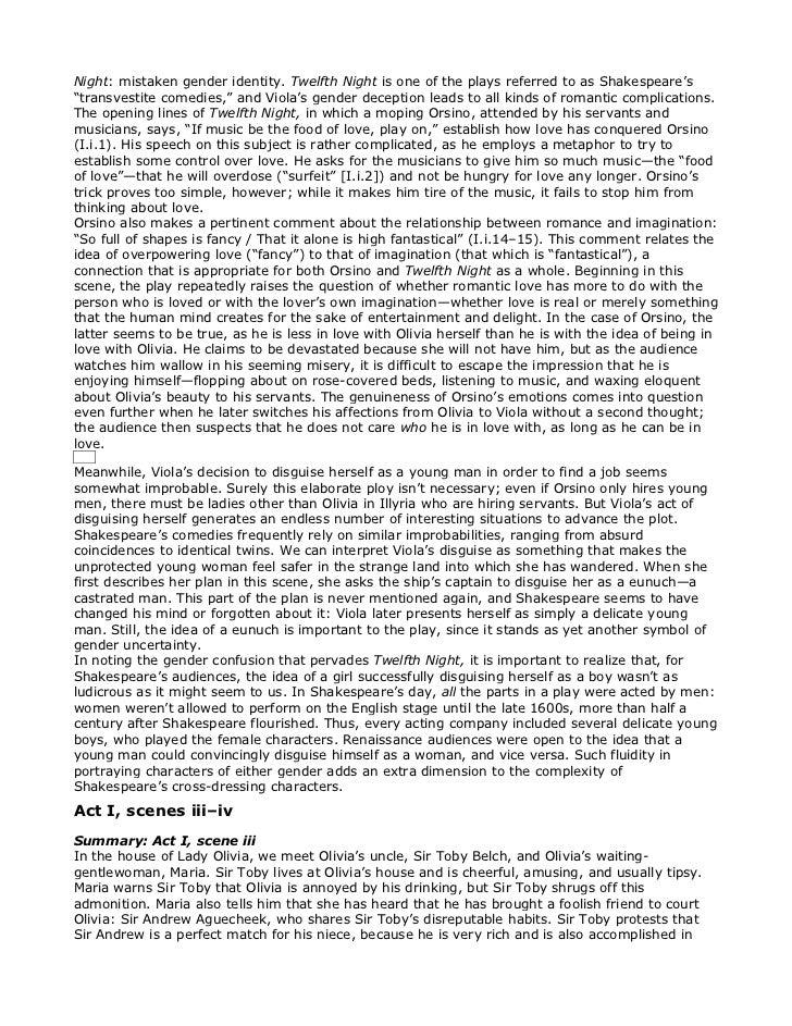 gender roles in twelfth night essay