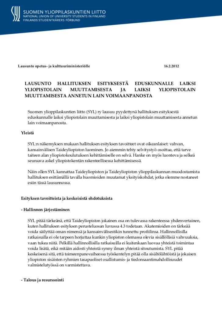 SYL:n lausunto taideyliopistolakiesityksestä 16.2.2012