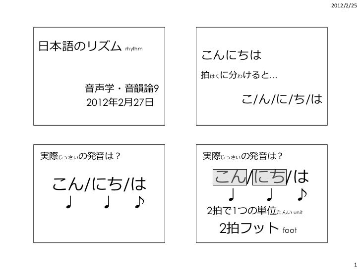 2012/2/25日本語のリズム rhythm                    こんにちは                    拍はくに分わけると…       音声学・音韻論9       2012年2月27日          こ/...