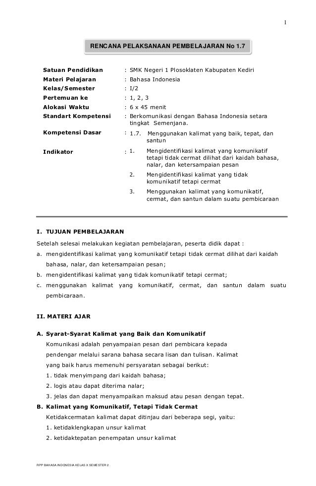 Rpp Bahasa Indonesia Sma Kls Xi Upload Share And Share The Knownledge