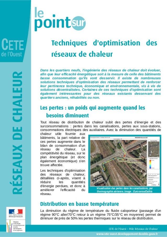 Techniques doptimisation des                            réseaux de chaleur                     Dans les quartiers neufs, l...