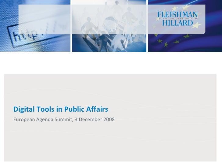 Digital Tools in Public Affairs European Agenda Summit, 3 December 2008