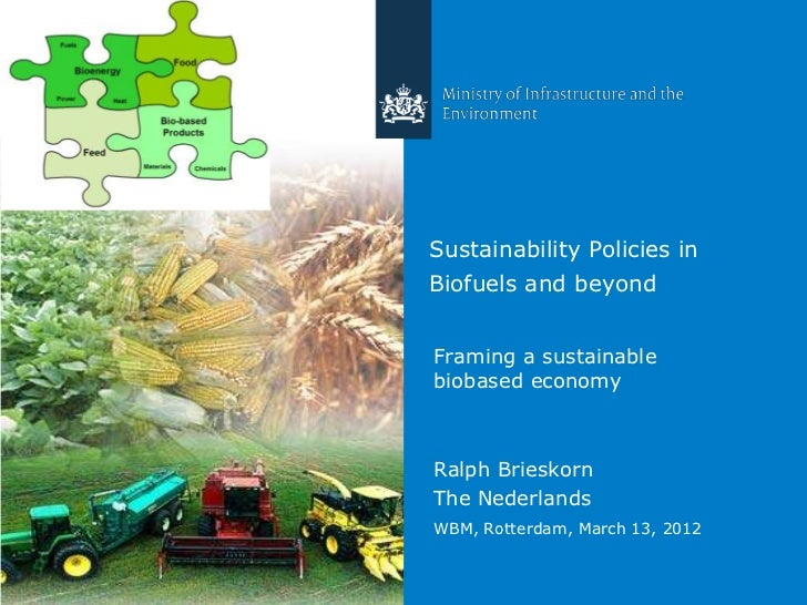 Sustainability Policies inBiofuels and beyondFraming a sustainablebiobased economyRalph BrieskornThe NederlandsWBM, Rotter...