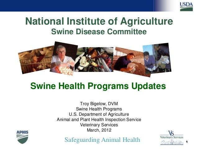 Safeguarding Animal Health National Institute of Agriculture Swine Disease Committee Troy Bigelow, DVM Swine Health Progra...