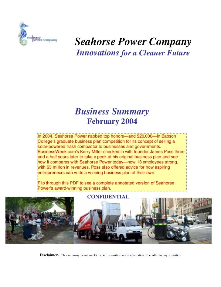 Seahorse Power Company                            Innovations for a Cleaner Future                           Business Summ...