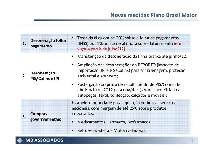 Novas medidas Plano Brasil Maior                        • Troca da alíquota de 20% sobre a folha de pagamentos   Desoneraç...