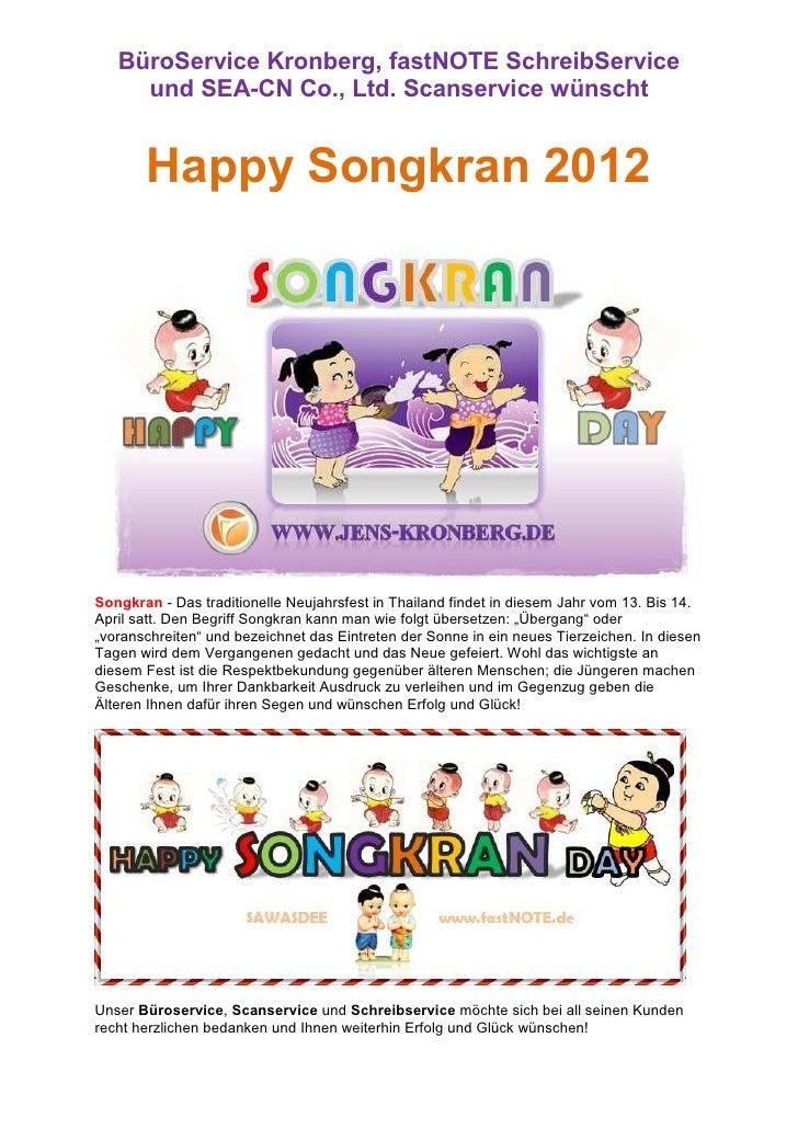 BüroService Kronberg, fastNOTE SchreibService     und SEA-CN Co., Ltd. Scanservice wünscht       Happy Songkran 2012Songkr...