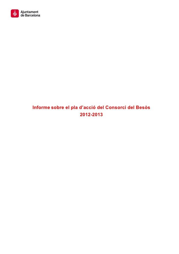 Informe sobre el pla d'acció del Consorci del Besòs                     2012-2013