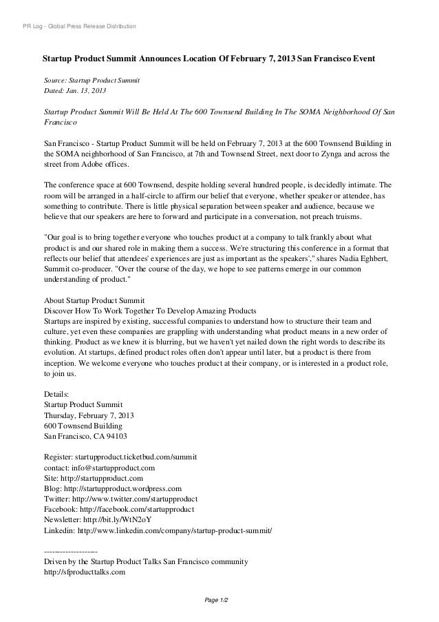 PR Log - Global Press Release Distribution       Startup Product Summit Announces Location Of February 7, 2013 San Francis...