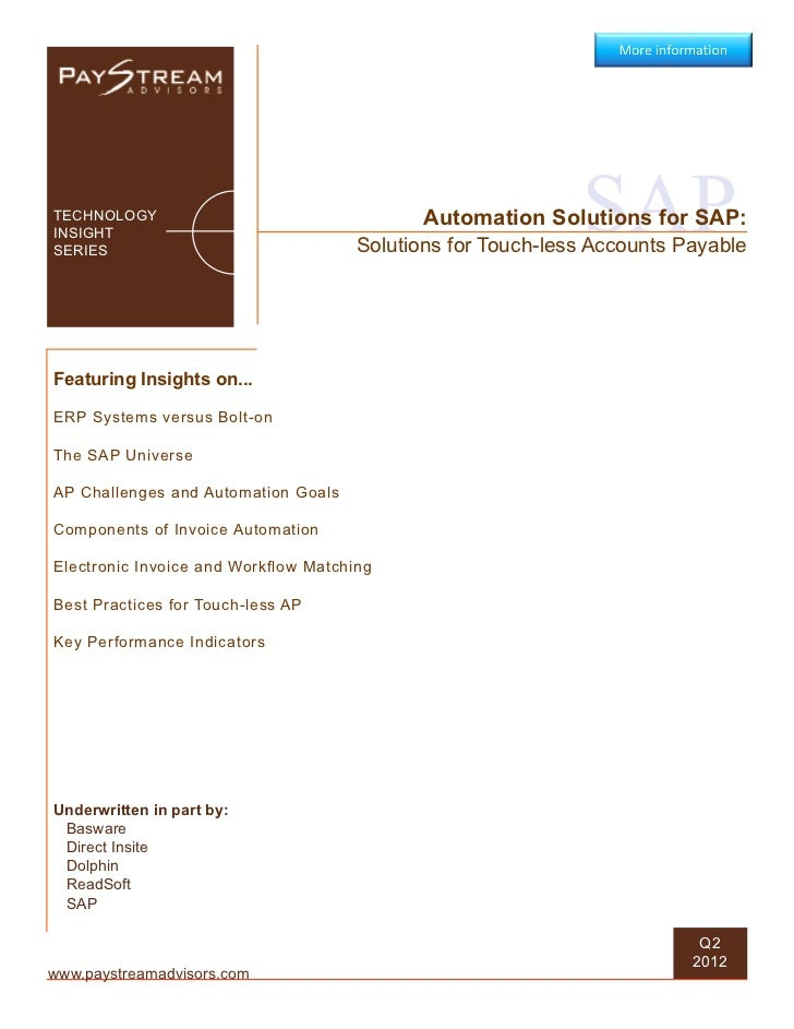 Automation Solutions for SAP Solutions for Touch-less Accounts Payable