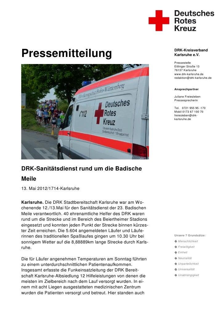 DRK-KreisverbandPressemitteilung                                                Karlsruhe e.V.                            ...