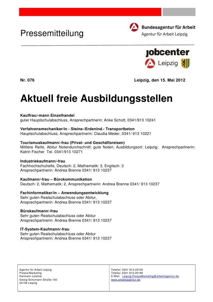 PressemitteilungNr. 076                                                           Leipzig, den 15. Mai 2012Aktuell freie A...