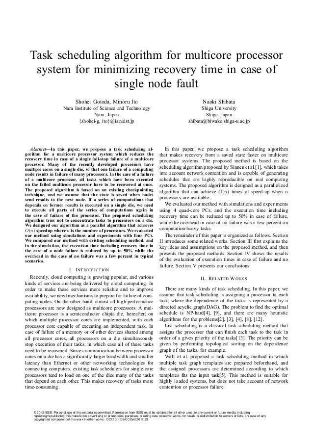 Task scheduling algorithm for multicore processor system for minimizing recovery time in case of single node fault Shohei ...