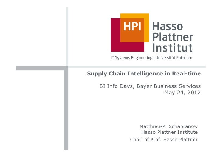 Supply Chain Intelligence in Real-time    BI Info Days, Bayer Business Services                            May 24, 2012   ...