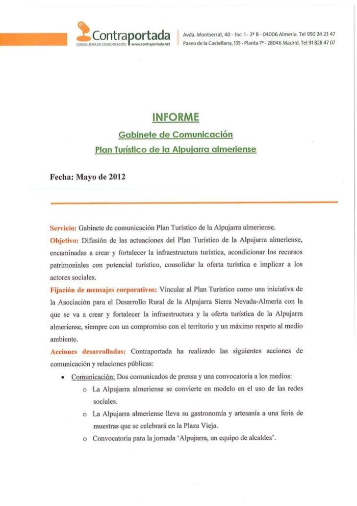 120601 informe plan turístico alpujarra almeriense mayo 2012